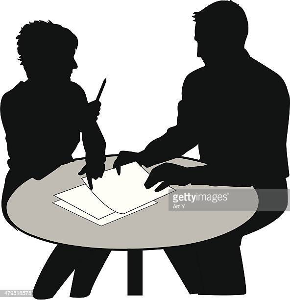 Two people talking business