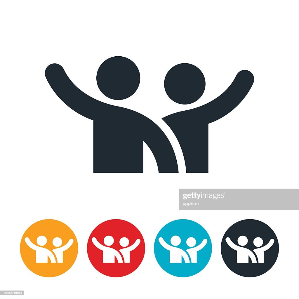 Two People Waving Icon : Stock Illustration