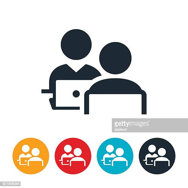 two people working icons - interview stock illustrations, clip art, cartoons, & icons