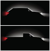 two pictures realistic pickup off-road car in the dark