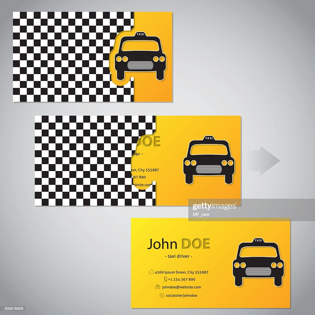 Two Piece Taxi Business Card With Cab Vector Art