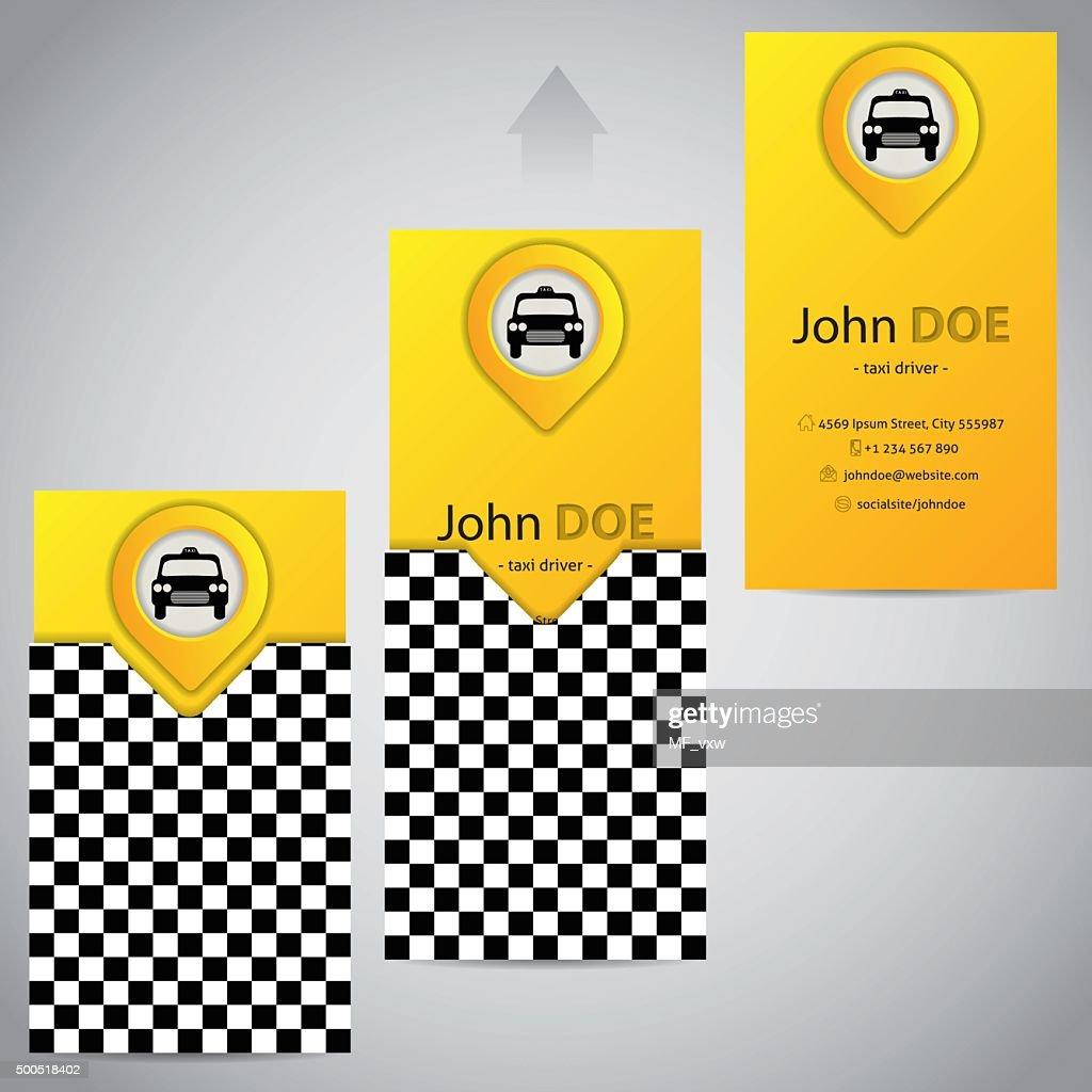 Deux Pices Avec Pointeur De Carte Visite Taxi Clipart Vectoriel