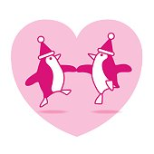 Two Pink Dancing Santa Penguins Partying on Pink Heart