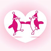 Two Pink Dancing Santa Penguins Partying on White Heart