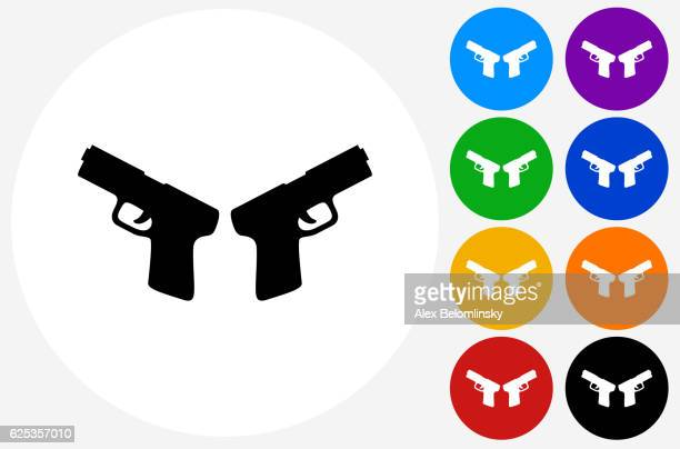 Two Pistols Icon on Flat Color Circle Buttons