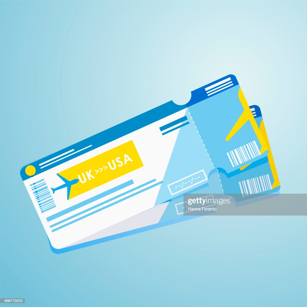 Two plane tickets. Illustration of a flight to another country. Travel agency