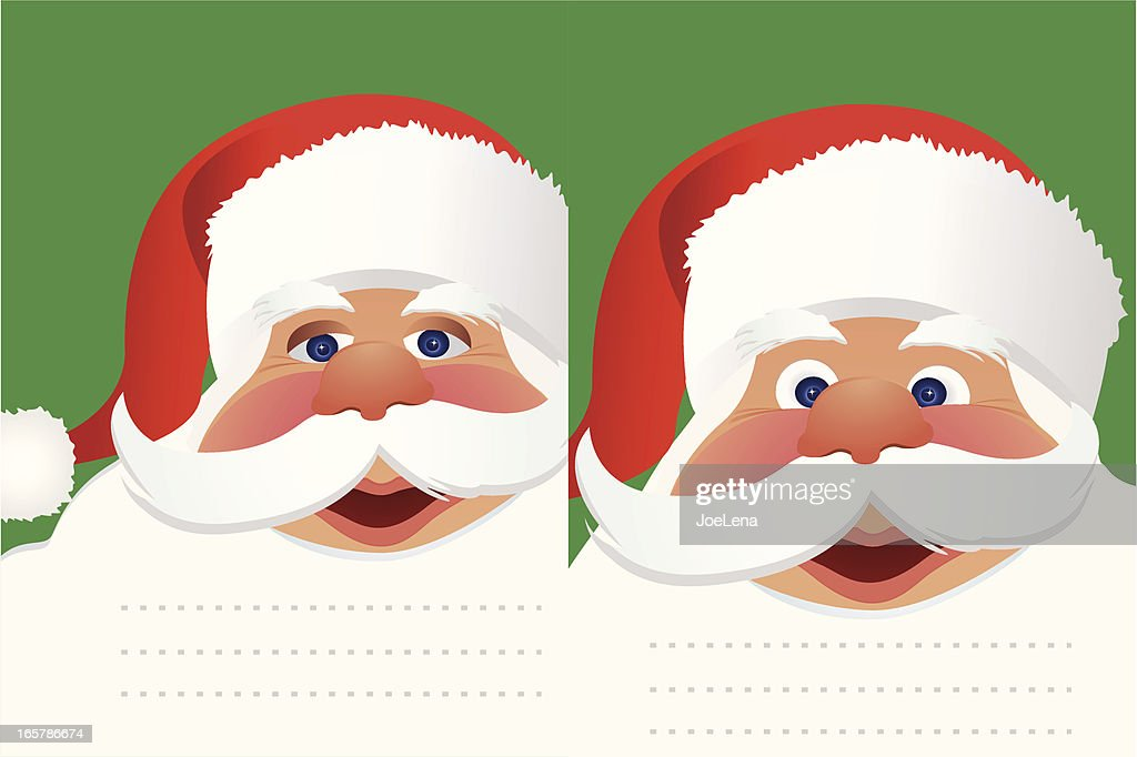 two postcards with santas face vector art getty images