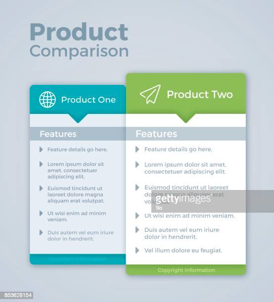 two product comparison marketing - vertical stock illustrations
