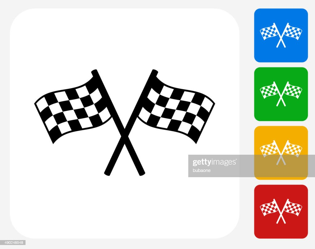 Two Racing Flags Icon Flat Graphic Design