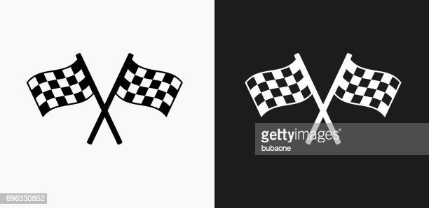 Two Racing Flags Icon on Black and White Vector Backgrounds