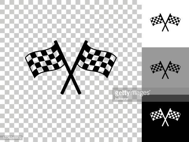 two racing flags icon on checkerboard transparent background - checkered flag stock illustrations