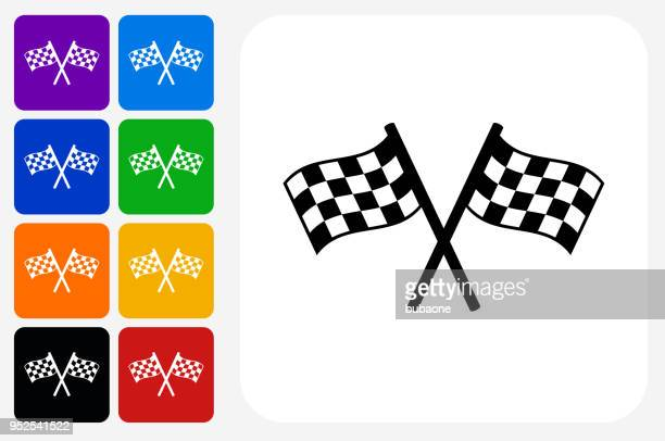 two racing flags icon square button set - checkered flag stock illustrations