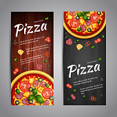 Two Realistic pizza vector flyer banners