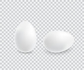 Two realistic white eggs. Isolated vector on transparent background. Illustration for bird eggs, food, poultry farming, gastronomy, cooking, etc