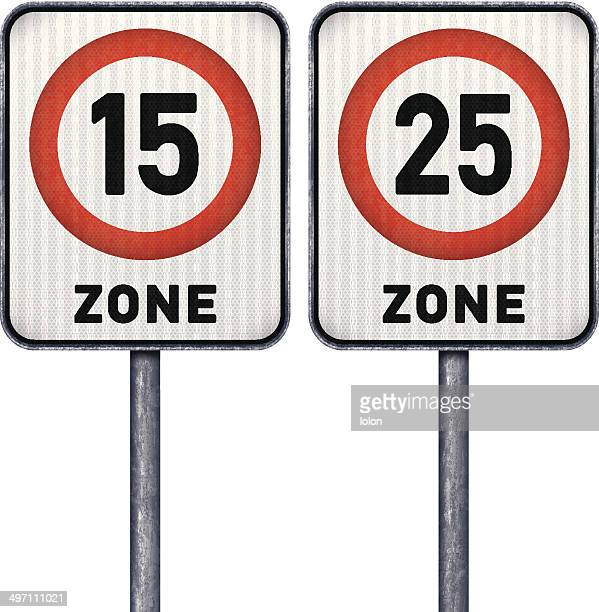 Two rectangular speed limit zone 15 and 25 road signs