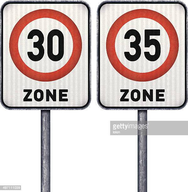 Two rectangular speed limit zone 30 and 35 road signs