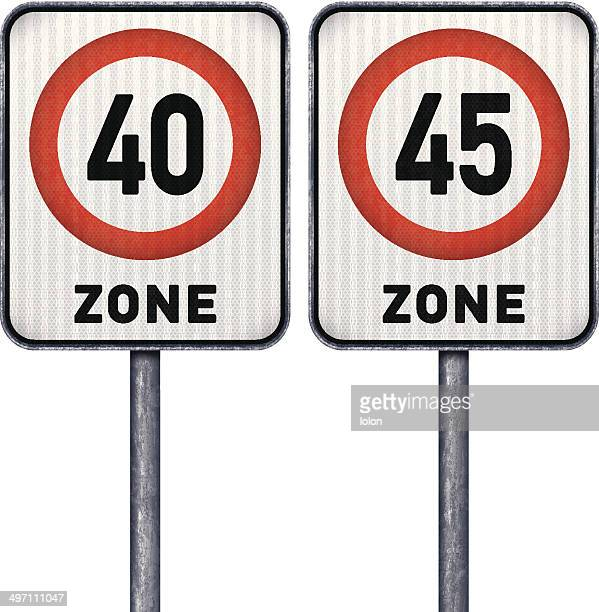 Two rectangular speed limit zone 40 and 45 road signs