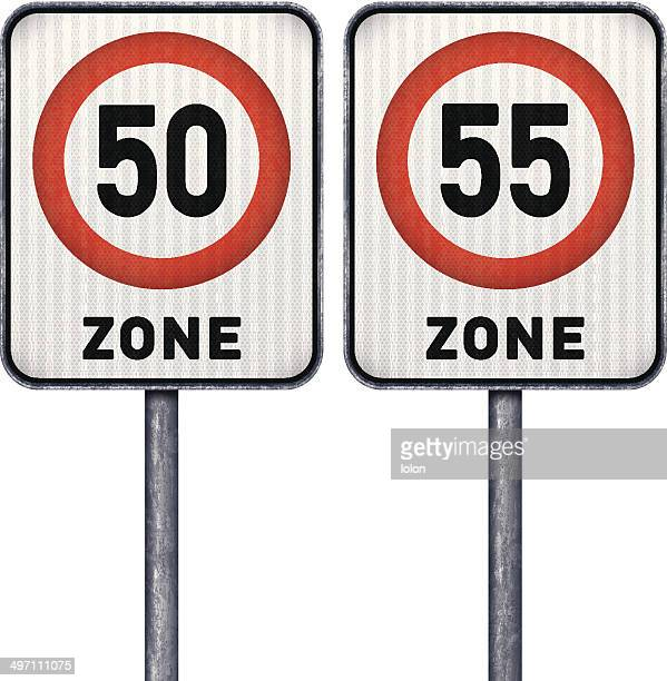 Two rectangular speed limit zone 50 and 55 road signs