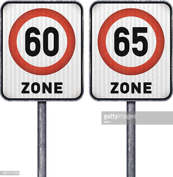 Two rectangular speed limit zone 60 and 65 road signs