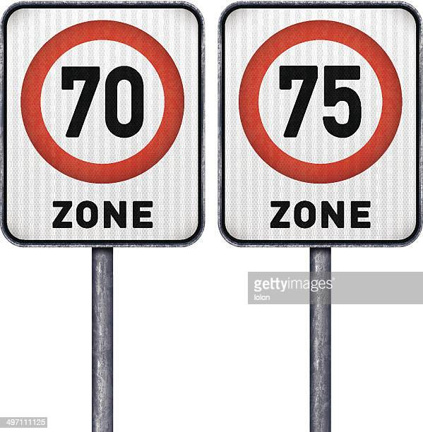 two rectangular speed limit zone 70 and 75 road signs - number 75 stock illustrations, clip art, cartoons, & icons