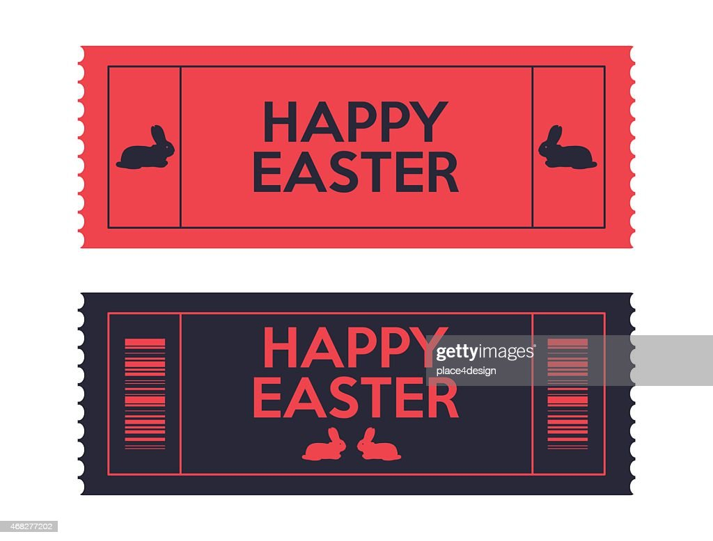Two red and blue tickets that are Easter themed