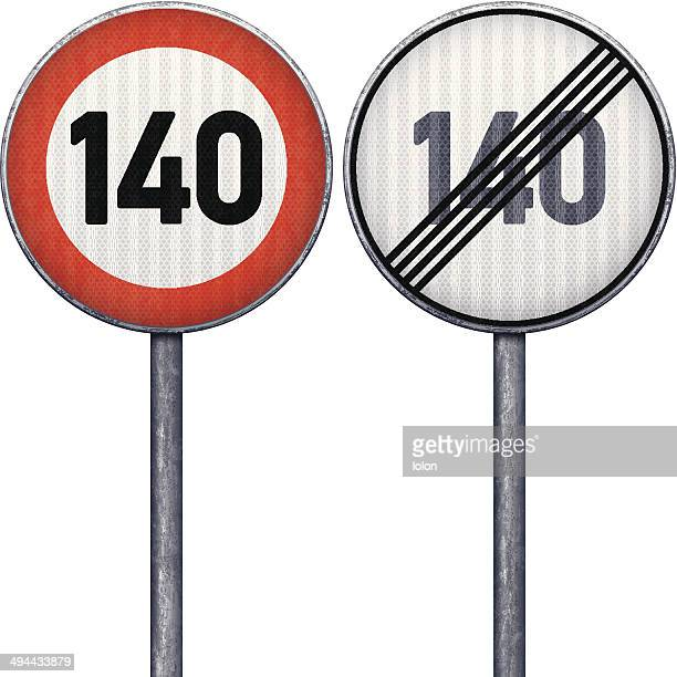 stockillustraties, clipart, cartoons en iconen met two red and white maximum speed limit 140 road signs - lolon