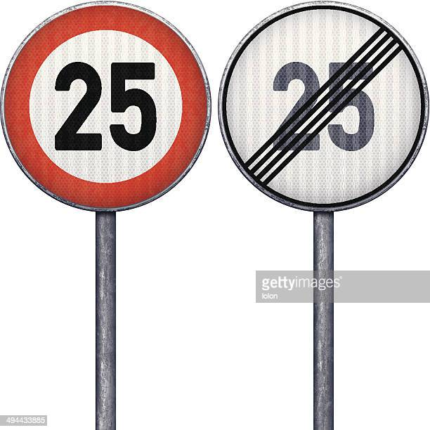 Two red and white maximum speed limit 25 road signs