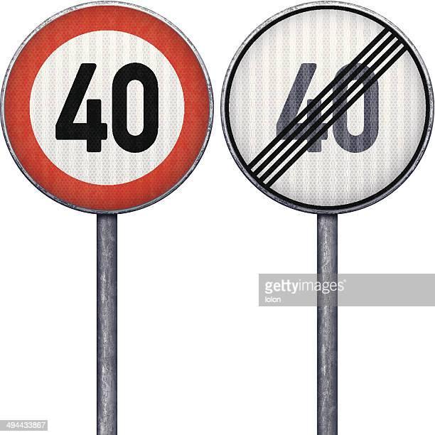 2 赤と白の最大 40 の速度制限標識 - 数字の40点のイラスト素材/クリップアート素材/マンガ素材/アイコン素材