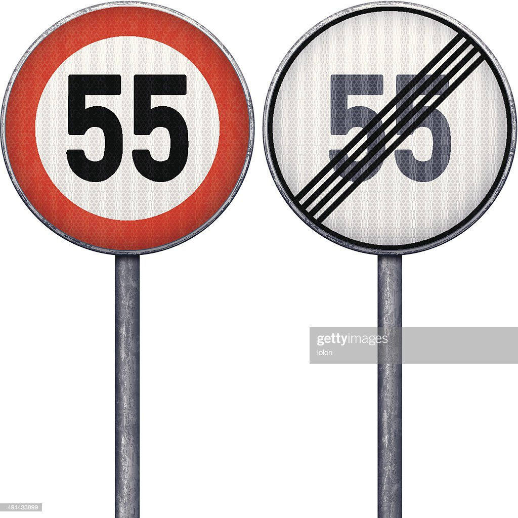 Two red and white maximum speed limit 55 road signs : stock illustration
