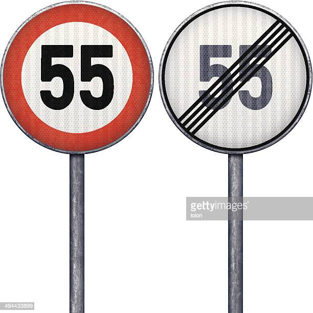 Two red and white maximum speed limit 55 road signs