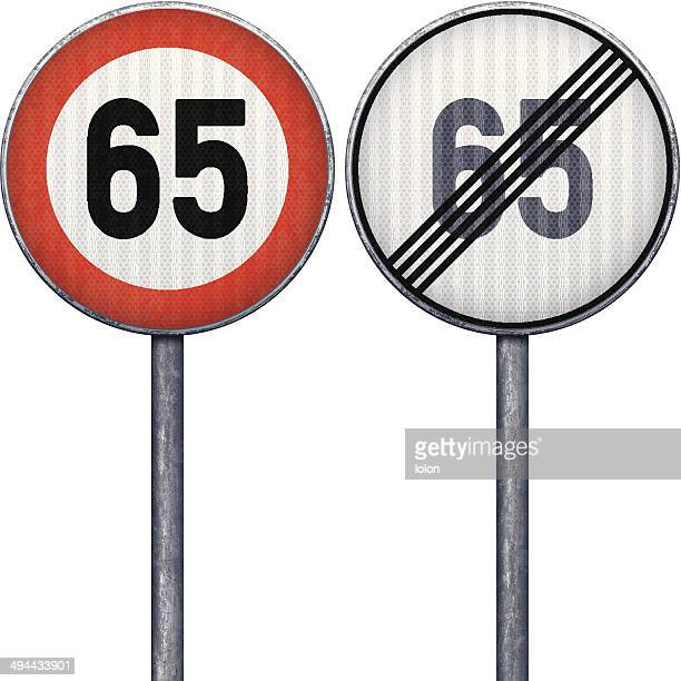 Two red and white maximum speed limit 65 road signs