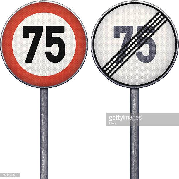 Two red and white maximum speed limit 75 road signs