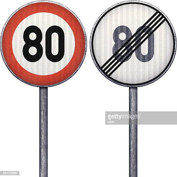 Two red and white maximum speed limit 80 road signs
