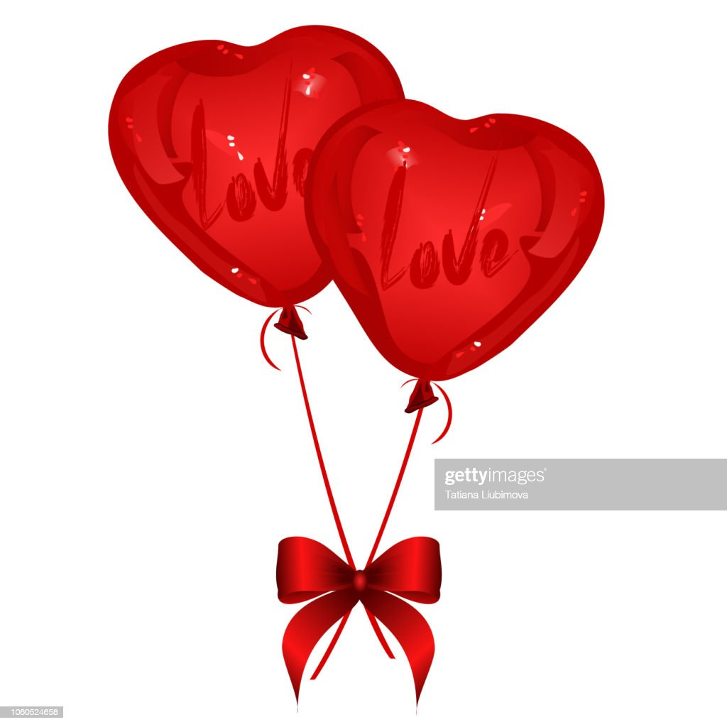 Two red heart-shaped balloons with red ribbon bow, vector illustration.