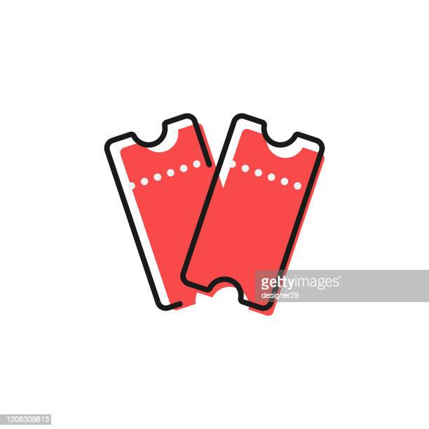 two red tickets icon flat design on white background. - raffle stock illustrations