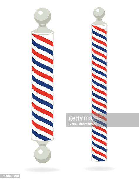 two red,white,blue, barber poles - barber pole stock illustrations