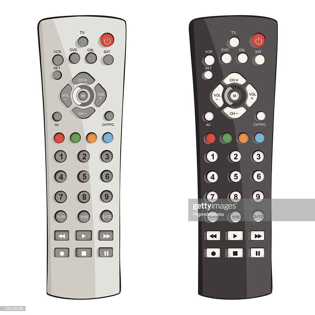 Two remote controls in black and white