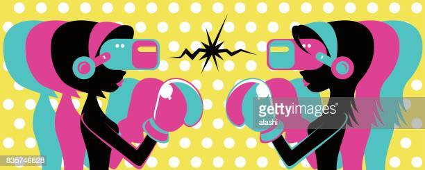Two retro beautiful woman (girl) wearing Virtual reality glasses (VR interface) and boxing glove, fighting, battle, bob hair and long hair, silhouette