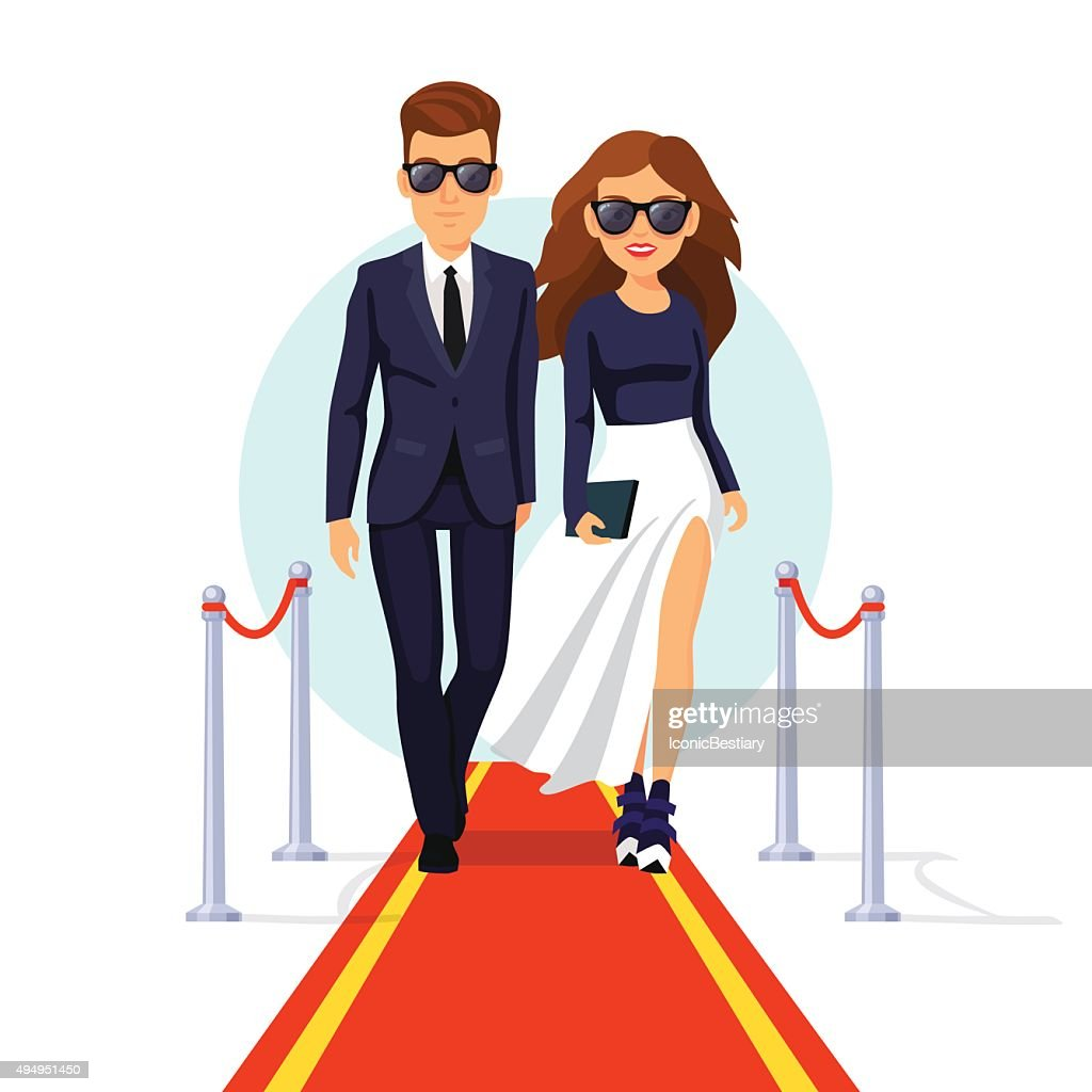 Two rich celebrities walking on a red carpet