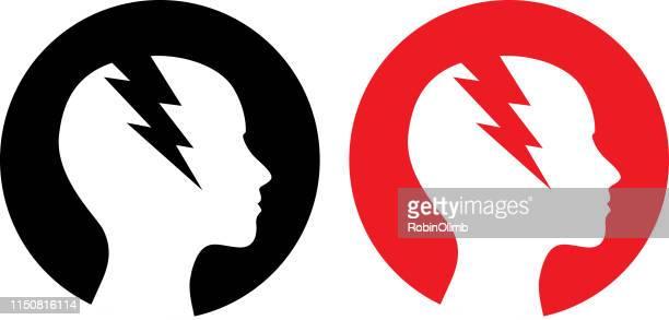 two round female headache icon - burden stock illustrations