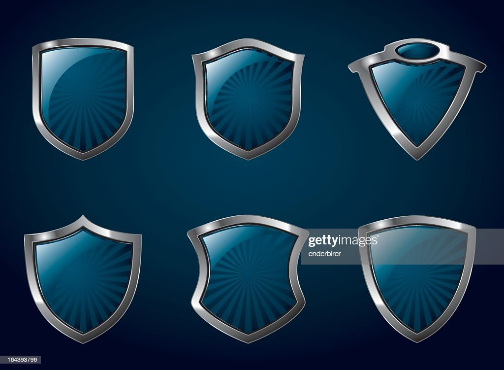 Two rows of blue shields with silver of varying shapes