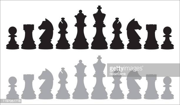 two rows of chess pieces - chess stock illustrations