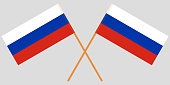 Two Russian crossed flags. Vector