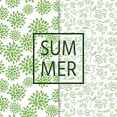 Two seamless and fresh pattern with branches,leaves