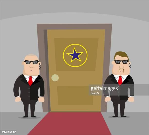 2 つの警備員とポップスターのドア - バウンサー点のイラスト素材/クリップアート素材/マンガ素材/アイコン素材