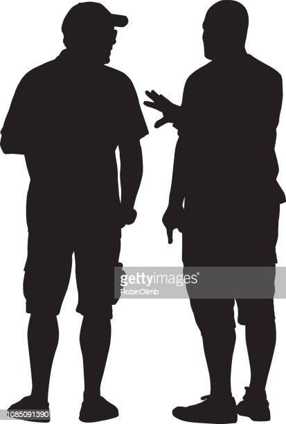 two senior men talking silhouette - only men stock illustrations