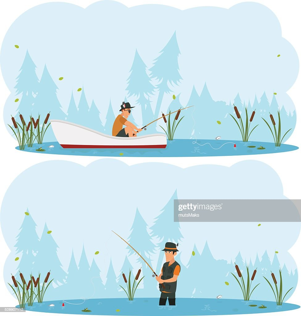 two separate images on the theme of fishing.