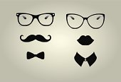 Two sets of hipster icons for male and female