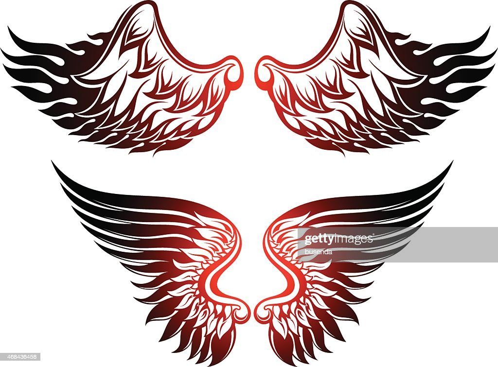 Two sets of red and black wings on a white background