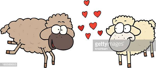 two sheep in love - animal heart stock illustrations, clip art, cartoons, & icons